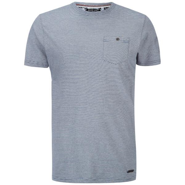 Brave Soul Men's Miller Stripe T-Shirt - Denim/Ecru