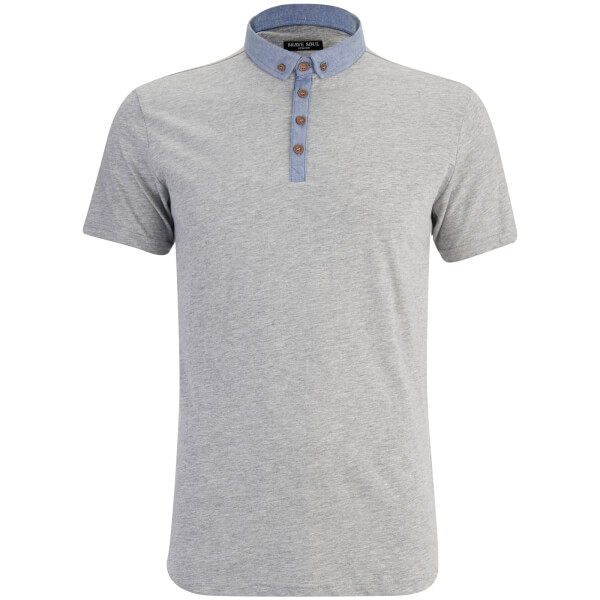 Brave Soul Men's Chimera Chambray Placket Polo Shirt - Grey