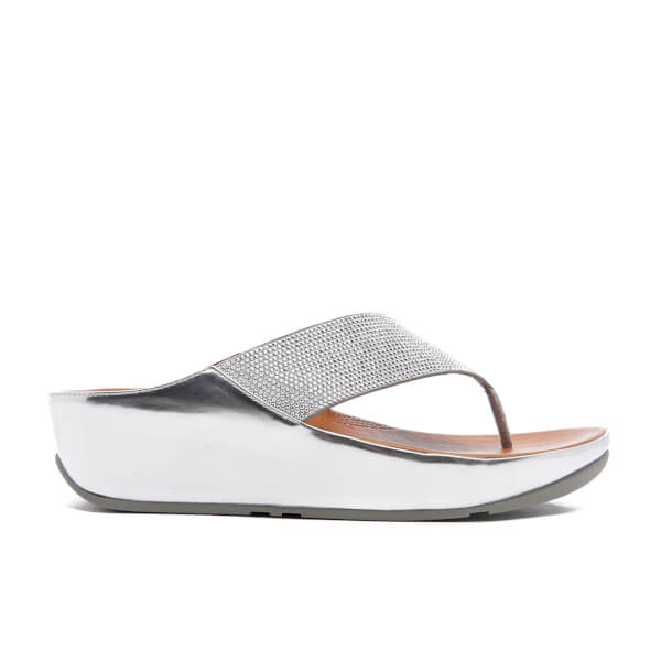 2f26ba57cdf0 FitFlop Women s Crystall Toe-Post Sandals - Silver  Image 1