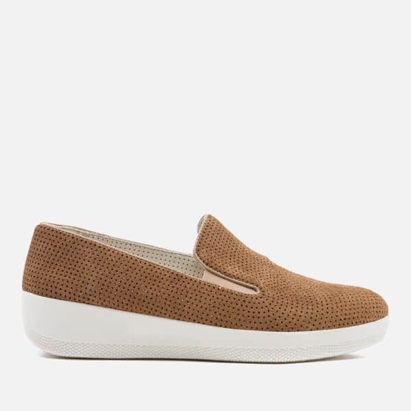 36e4b680729eb0 FitFlop Women s Superskate Perforated Suede Slip On Trainers - Soft Brown   Image 1
