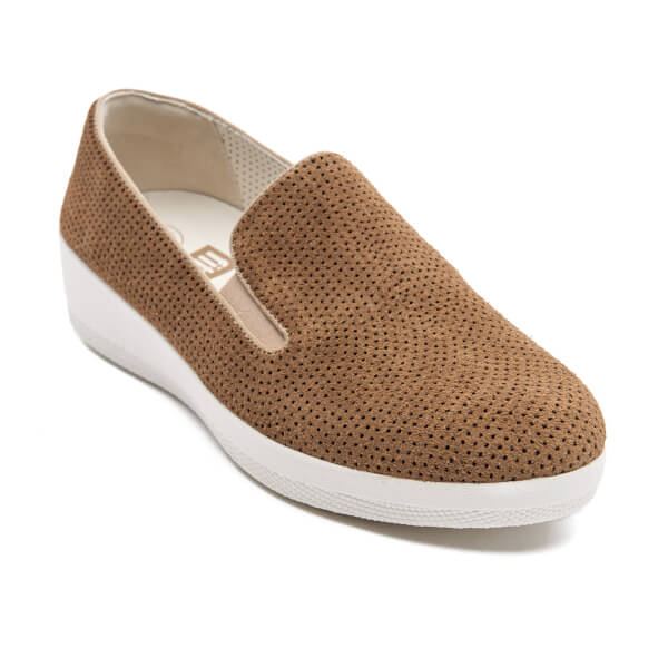 1660568b226dbc FitFlop Women s Superskate Perforated Suede Slip On Trainers - Soft Brown   Image 2