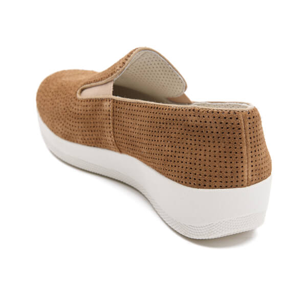 a7565790df9758 FitFlop Women s Superskate Perforated Suede Slip On Trainers - Soft Brown   Image 5