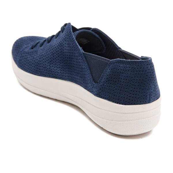 7dbf9ec66 FitFlop Women s F-Sporty Perforated Suede Lace-Up Trainers - Mignight Navy   Image