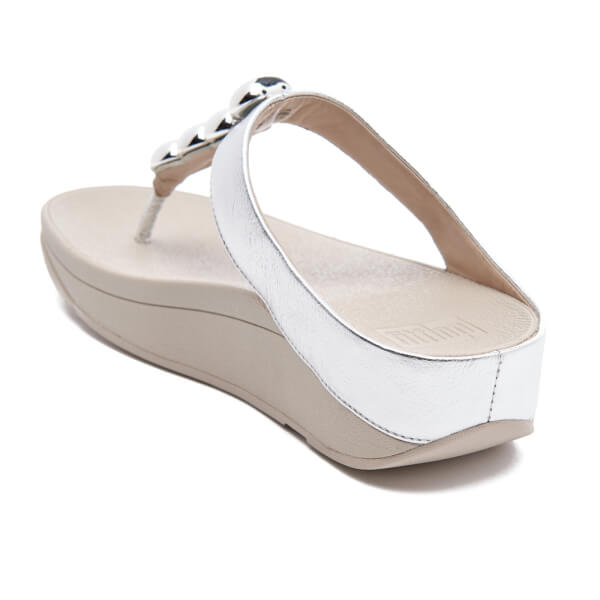 Fitflop Women S Rola Leather Toe Post Sandals Silver