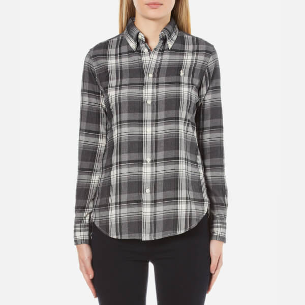 Polo Ralph Lauren Women's Georgia Brushed Plaid Shirt - Grey/Black