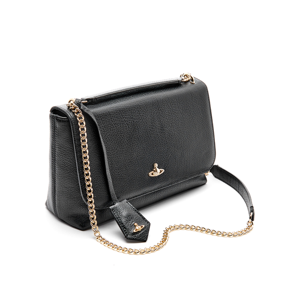 78e6437c45b8 Vivienne Westwood Women s Balmoral Grain Leather Large Fold Over Shoulder  Bag - Black  Image 3