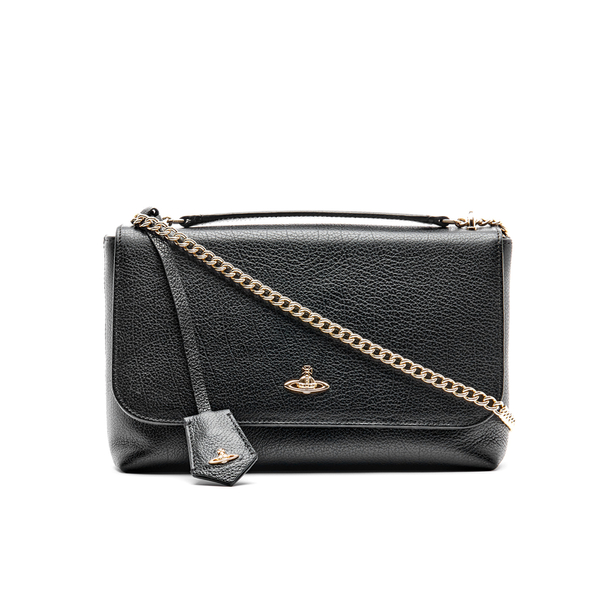 909563746d10 Vivienne Westwood Women s Balmoral Grain Leather Large Fold Over Shoulder  Bag - Black  Image 1