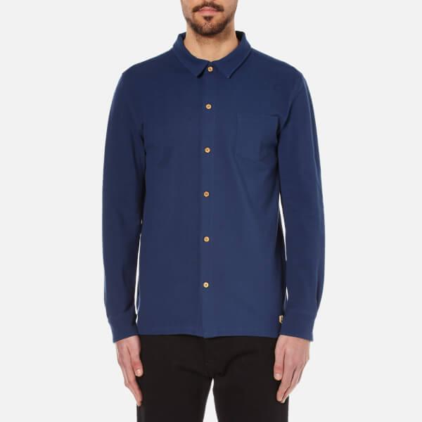 Armor Lux Men's Pique Long Sleeve Shirt - Blue