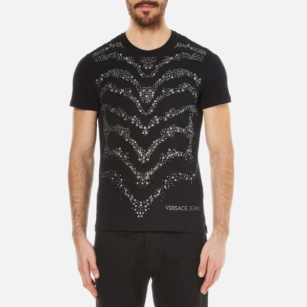 Versace Jeans Men's Studded Wave Detail T-Shirt - Black