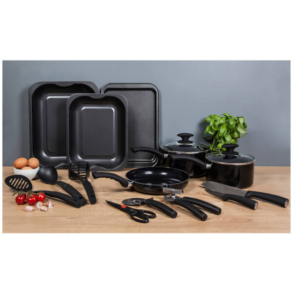 Tower 14 piece aluminium kitchen starter set black iwoot for Kitchen set aluminium