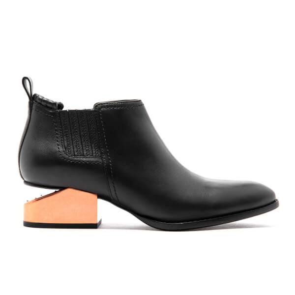 Alexander Wang Women's Kori Tumbled Leather Rose Gold Metal Heeled Ankle Boots - Black