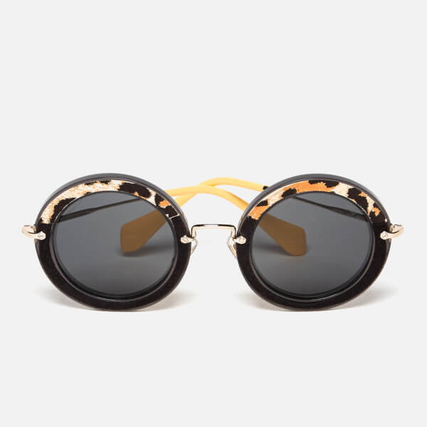 Miu Miu Women's Round Oversized Sunglasses - Transparent Grey