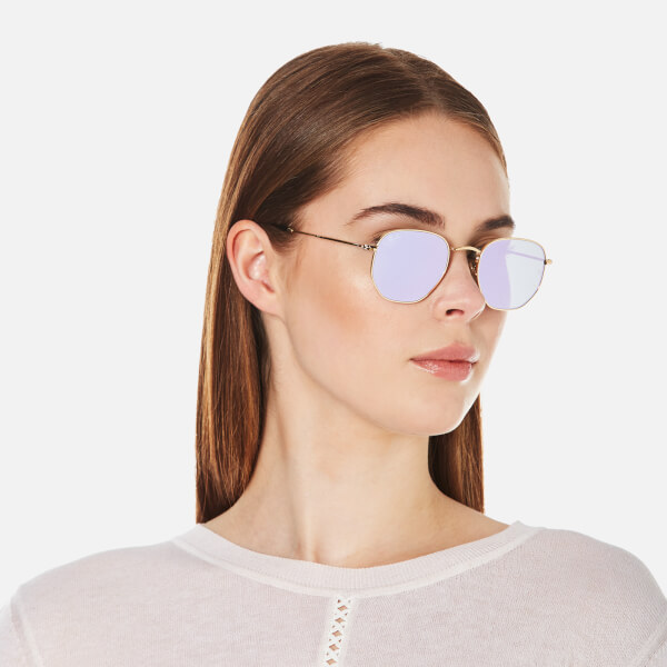 Ray Ban Hexagonal Metal Frame Sunglasses Gold Wisteria