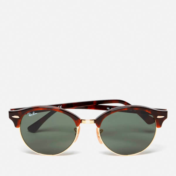 58010d1c34a Ray-Ban Clubround Flat Lenses Half Metal Frame Sunglasses - Red Havana   Image 1