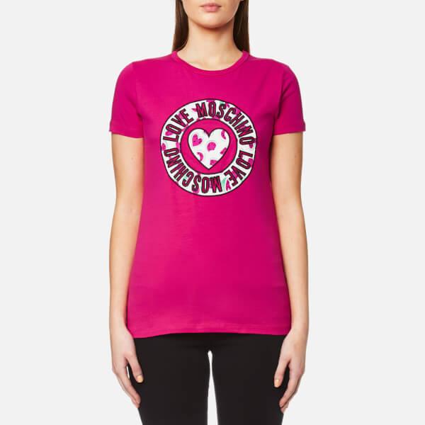 Love Moschino Women's Heart Watermelon Logo Print T-Shirt - Fuxia: Image 1