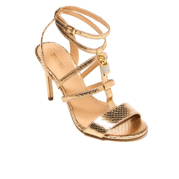 a845274eca20 MICHAEL MICHAEL KORS Women s Antoinette Leather Metallic Heeled Sandals -  Pale Gold  Image 2