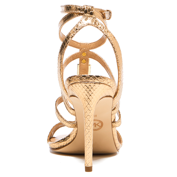 b6935dd570eeb MICHAEL MICHAEL KORS Women s Antoinette Leather Metallic Heeled Sandals -  Pale Gold  Image 3