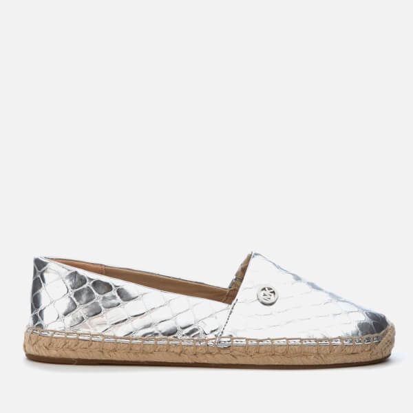 MICHAEL MICHAEL KORS Women's Kendrick Metallic Leather Slip-On Espadrilles - Silver