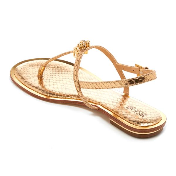db73294692cd3 MICHAEL MICHAEL KORS Women s Suki Leather Flat Sandals - Pale Gold  Image 4