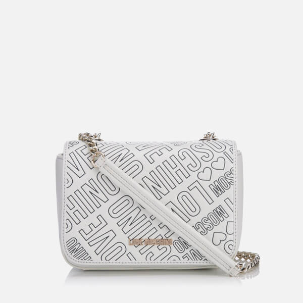 Love Moschino Women s Love Mini Printed Shoulder Bag - White Womens ... c2d5f20a61f