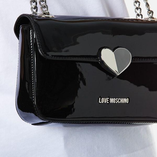 7ed4adecd53 Love Moschino Women's Love Mini Heart Double Chain Strap Shoulder Bag -  Black: Image 3