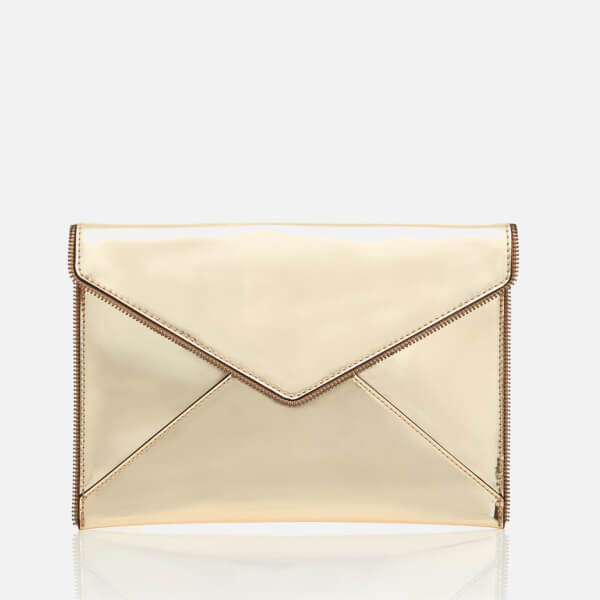 Rebecca Minkoff Women's Mirrored Metallic Leo Clutch Bag - Pale Gold