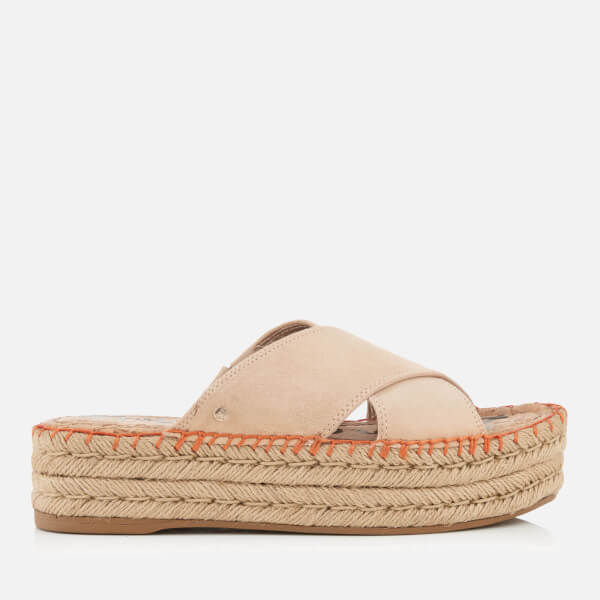 Sam Edelman Women's Natty Suede Espadrille Flatform Sandals - Natural  Naked: Image 1