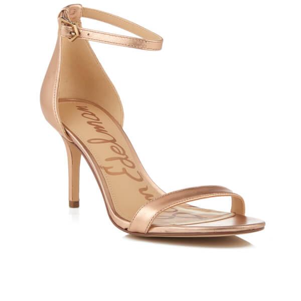 59880645fb2017 Sam Edelman Women s Patti Leather Mid Heeled Barely There Sandals -  Platinum Pink Metallic  Image