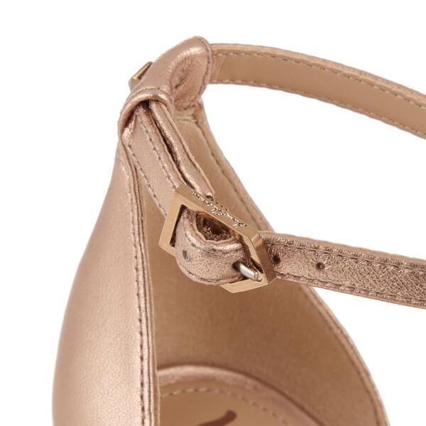 406ff6b74db0d7 Sam Edelman Women s Patti Leather Mid Heeled Barely There Sandals - Platinum  Pink Metallic  Image
