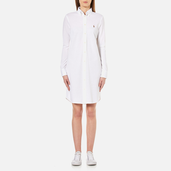 Excellent Polo Ralph Lauren Embroidered Longsleeve Dress In White  Lyst