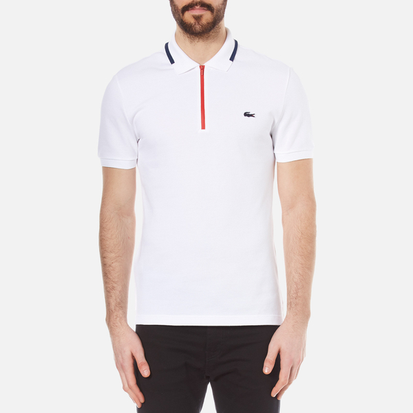 lacoste men 39 s 39 made in france 39 zip polo shirt white ship. Black Bedroom Furniture Sets. Home Design Ideas