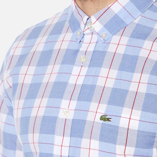 9155bc3ed9fd2 Lacoste Men s Short Sleeve Check Shirt - Methylene Flower Purple-R  Image 4