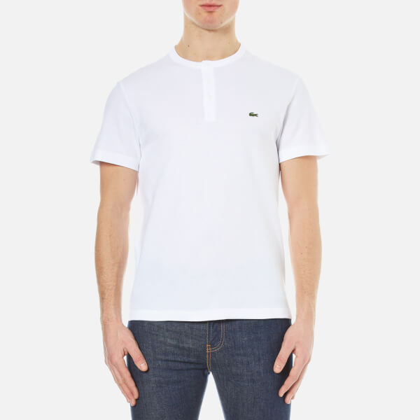 Lacoste men 39 s henley collar t shirt white free uk for Mens collared henley shirt