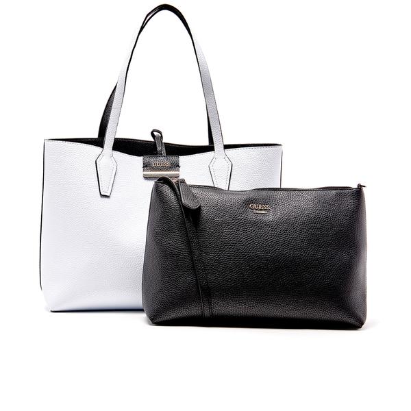guess women 39 s bobbi inside out tote bag white black bekleidung. Black Bedroom Furniture Sets. Home Design Ideas
