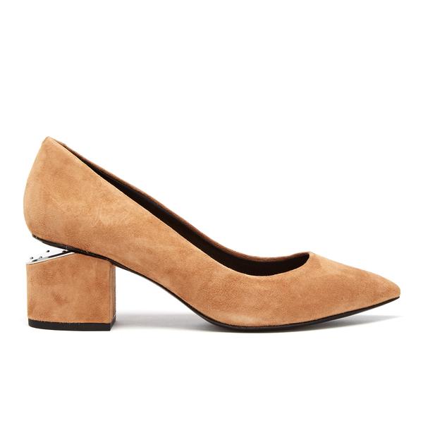 Alexander Wang Women's Simona Suede Block Heeled Court Shoes - Clay