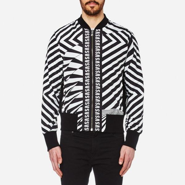 Versus Versace Men S All Over Print Bomber Jacket Black White