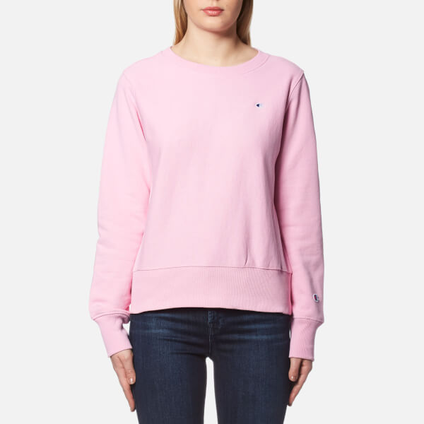Champion Women s Crew Neck Sweatshirt - Pink Womens Clothing ... e78a09e96