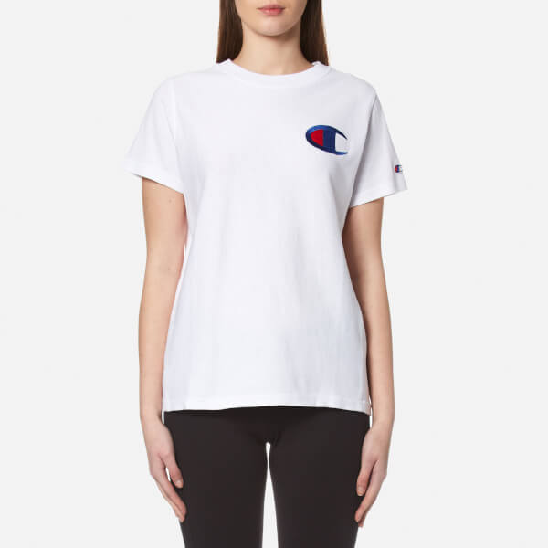 Champion women 39 s crew neck t shirt white free uk for Crew neck white t shirt