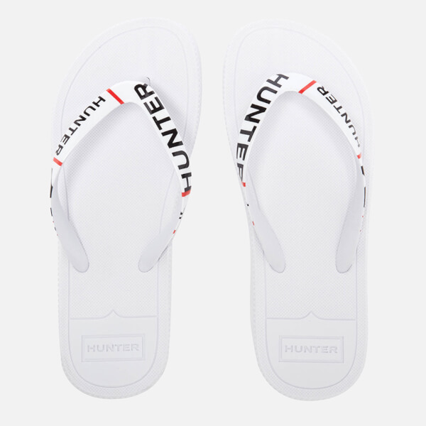 Hunter Women's Original Exploded Logo Flip Flops - White
