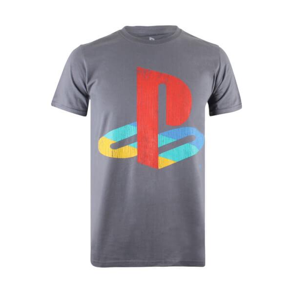 T-Shirt Homme PlayStation Logo Rétro - Gris Charbon