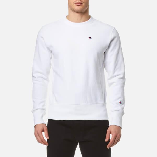 Champion Men s Crew Neck Sweatshirt - White Mens Clothing ... 3bbe28fda0f5