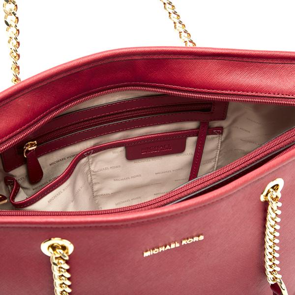 8693abd09b9a MICHAEL MICHAEL KORS Women's Jet Set Travel Chain Top Zip Tote Bag - Cherry:  Image
