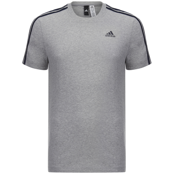 adidas Men's Essential 3 Stripe T-Shirt - Grey Marl