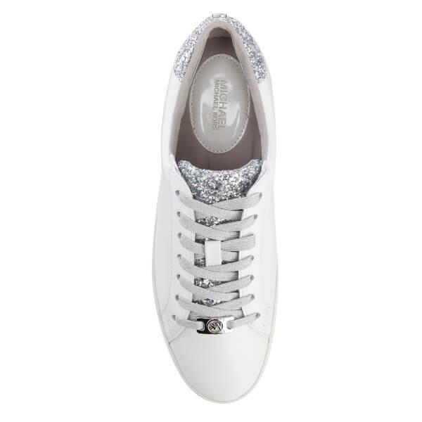 54de51a16c95 MICHAEL MICHAEL KORS Women s Irving Lace Up Court Trainers - Optic White  Silver  Image
