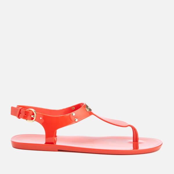 MICHAEL MICHAEL KORS Women's MK Plate Jelly Toe Post Sandals - Grenadine