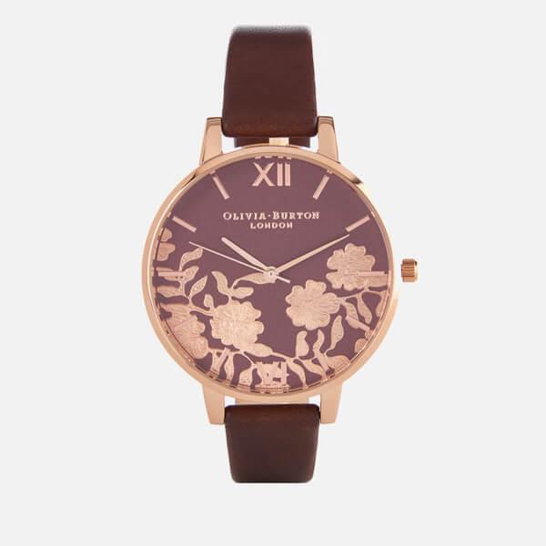 Olivia Burton Women's Lace Detail Watch - Brown/Rose Gold