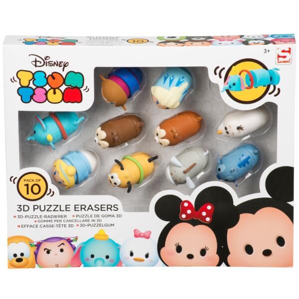 Tsum Tsum 3D Puzzle Eraser 10pk In Window Box