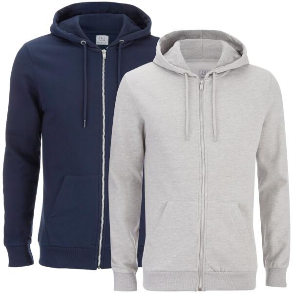 Smith & Jones Men's Gridiron 2 Pack Zip Through Hoody - Navy/Grey