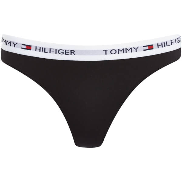 bb8c11f479 Tommy Hilfiger Women s Cotton Thong Iconic - Black  Image 1