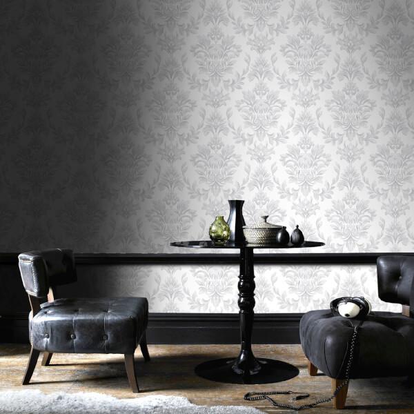 Laurence Llewelyn Bowen Johor Damask Glitter Silver Wallpaper